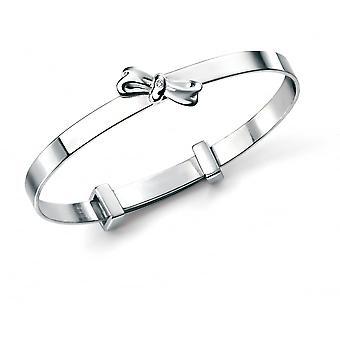 D pour Diamond Silver Raised Bow Bangle