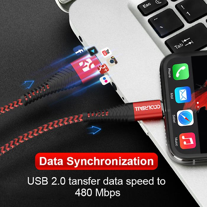 Coolreall Lightning USB Charging cable Data cable 2M Braided Nylon Charger iPhone / iPad / iPod Red