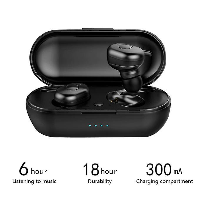 Stuff Certified® DT-1 TWS Wireless Smart Touch Control Earphones Bluetooth 5.0 Air Wireless Pods Earphones Earbuds 300mAh Black