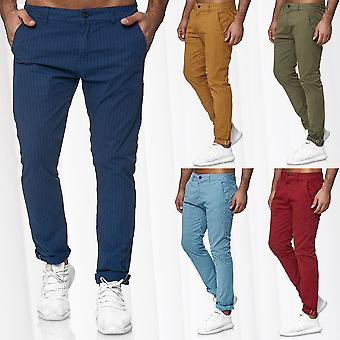 Men Striped Chino Slim Tapered Leg Regular Fit Jeans Pants Casual Classic
