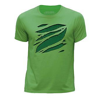 STUFF4 Chłopca rundy szyi T-shirty-Shirt i dużych Rip/Green Carbon Fibre/zielony