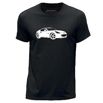 STUFF4 Men's Round Neck T-Shirt/Stencil Car Art / 370Z/Black