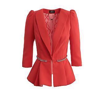 Elisabetta Franchi Gi94801e2h85 Mulheres's Blazer de Nylon Vermelho
