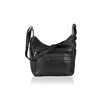 "Woodland Leather Black Leather Clutch Style 10.0"" Hand Bag with Adjustable Shoulder Strap"