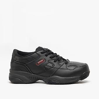 DEK Cruiser Mens Leather Lace-up Comfort Trainers Black