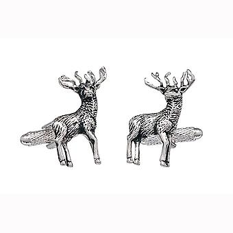 Standing Stag Cufflinks Onyx Art - Gift Boxed - Deer Hunting Shoot Stags Game