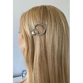 Trendy hair clip in form heart dressed with rhinestones that gleam