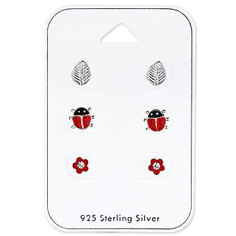 Ladybird, Leaf & Flower - 925 Sterling Silver Sets - W33229x