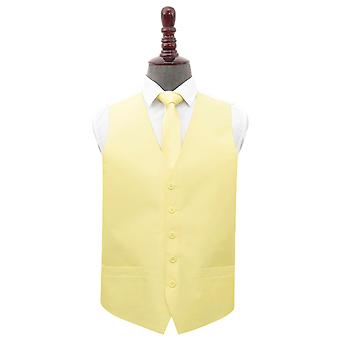Lemon Yellow Plain Shantung Wedding Waistcoat et; Ensemble d'attaches