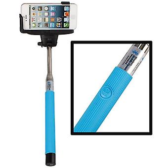 Wired Selfie Stick with Shutter Button - Blue