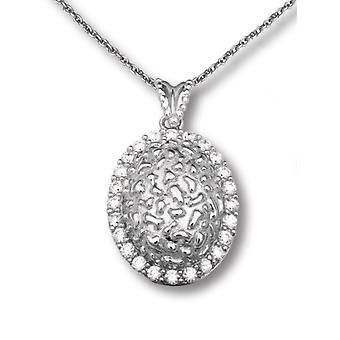 PENDANT WITH CHAIN OVAL IN RELIEF 925 SILVER GOLDPLATED WITH ZIRCONIUM
