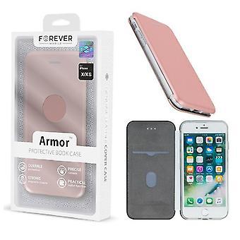 iPhone X / XS - FOREVER Armor Book Mobilplånbok - Rosaguld