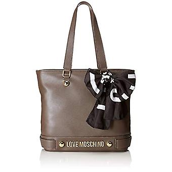 Love Moschino Bolsa Soft Grain Pu - Gris Bolsas de Tote de Mujer (Taupe) 12x28x38 cm (B x H T)