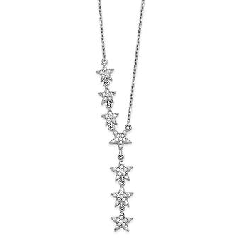 925 Sterling Silver Rhodium Plated CZ Cubic Zirconia Simulated Diamond Stars Necklace 18 Inch Jewelry Gifts for Women