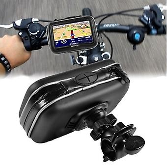 4,3 GPS SAT NAV telefón nepremokavé kožené puzdro držiak Motocykel Bike