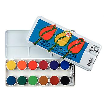 Talens Opaque Watercolour Paint Tin Set (12 Pans, 1 Tube)
