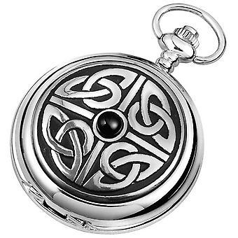 Woodford celta Knotwork cromado completo caçador de quartzo relógio de bolso - prata/preto
