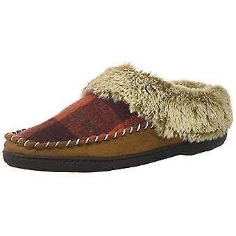 Dearfoams Women's Microsuede Moc Toe Clog Slipper, Red Plaid, XL Regular US