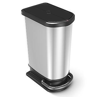 ROTHO Treteimer DUO PASO 50 Liter Silber metallic | Mülleimer für die Küche