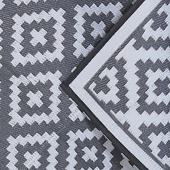 Charles Bentley Waterproof Indoor of Patio Medium Rug Grey Outdoor Diamond Pattern 120x172cm