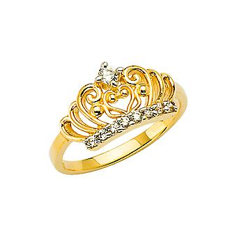 14k Yellow Gold CZ Cubic Zirconia Simulated Diamond Crown Boys and Girls Ring Size 3 - 1.4 Grams