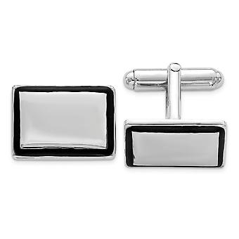 925 Sterling Silver Solid Polished Engravable and Black Enamel Cuff Links Jewelry Gifts for Men