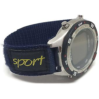 Velcro watch strap navy blue nylon sports size 14mm and 20mm