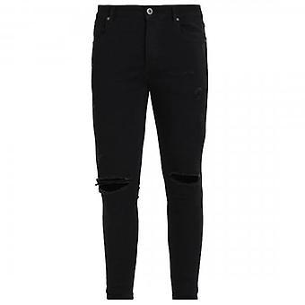 Kings Will Dream Lumor Super Skinny Stretch Denim Black Ripped Jeans