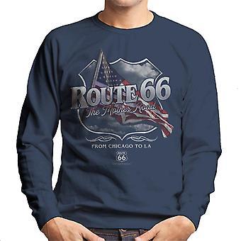 Rota 66 Mother Road American Flag Men's Sweatshirt