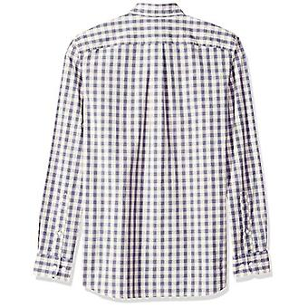 Goodthreads Men's Standard-Fit Long-Sleeve Plaid Poplin Shirt with Button-Down Collar, ivory check, XX-Large