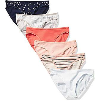 Essentials Women's 6-Pack Cotton Bikini Underwear, Stars & Dots, L