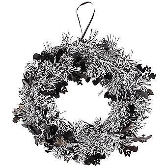 24 cm glitter halloween krans halloween dekorasjon sølv -