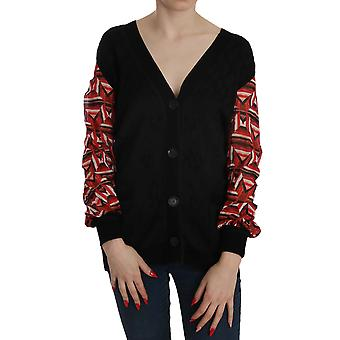 Black Plunging Long Sleeve Cardigan Sweater -- TSH3992944