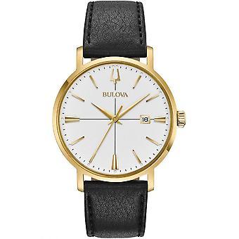Bulova Watches 97b172 Aerojet Gold & Black Leather Men's Watch