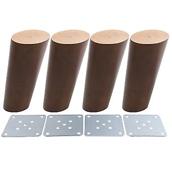 4pcs Wood Furniture Foot Leg Feet 12cm Walnut Color