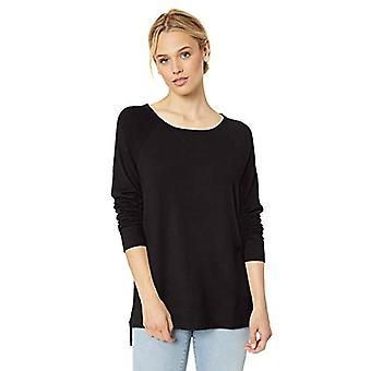 Brand - Daily Ritual Women's Cozy Knit Open Crewneck Pullover, Black , Large