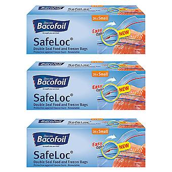 3 x Bacofoil Dobbelt Seal Resealable Bag 20 Lille Frokost Sandwich Food Fryser