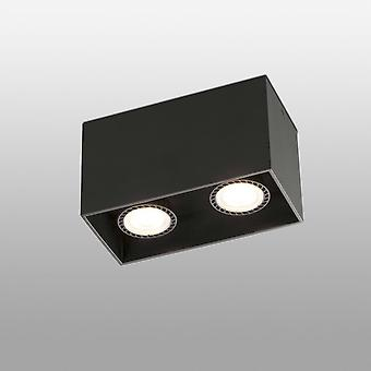 Faro Tecto - 2 Light Square Surface Mounted Downlight Black, GU10