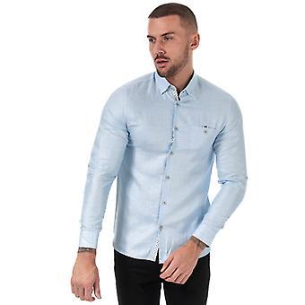 Män & apos;s Ted Baker Jaames Linne skjorta i blått