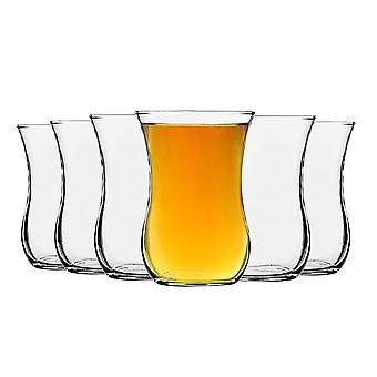 LAV Klasik tazas de té de vidrio para café, bebidas calientes - estilo vintage - 115ml - claro - paquete de 6