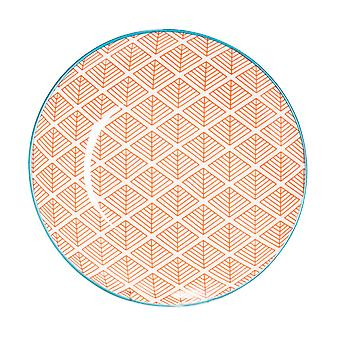 Nicola Spring Geometric Patterned Side Plate - Small Porcelain Dining Dish - Coral - 19cm