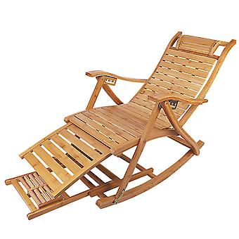 Adjustable Bamboo Rocking Chair Folding Lounger Recliner