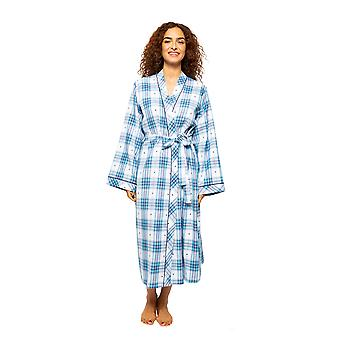 Cyberjammies Stella 4620 Women's White Mix Heart Dobby Check Long Robe