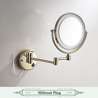 "Golden Brass Led Light Makeup Mirrors,  8"" Round Dual Sides 3x /1x Mirrors"