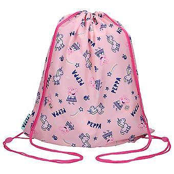Peppa Pig Greta Gris & Unicorn Gym Bolsa para Niños Bolsa 44x37cm Rosa