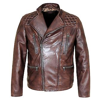 Mauve men's vintage genuine cow leather jacket