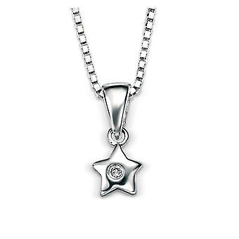 D for Diamond 925 Sterling Silver Childrens Diamond Star Pendant Necklace of Length 35cm