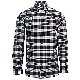 Fred perry men's white and black tartan oxford shirt