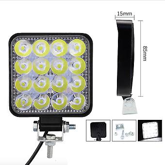 New Square 16 Lights 48w Work Lights, Motorcycle Headlight Auxiliary Lights, Off-road Vehicle Modified Lights