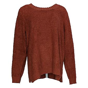 LOGO by Lori Goldstein Women's Sweater Mixed Media Red A385274